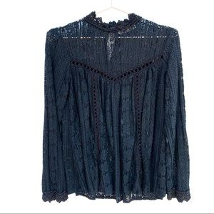 ENTRO Black Floral Lace Long Sleeve High Neck Top